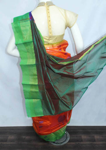 Dark Orange With Green Silk Cotton Saree - FP44783 ARRS Silks