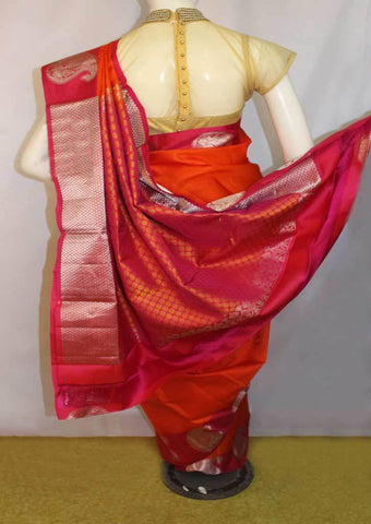 Dark Orange with Pink  Kanchipuram Silk Saree-FM76697 ARRS Silks