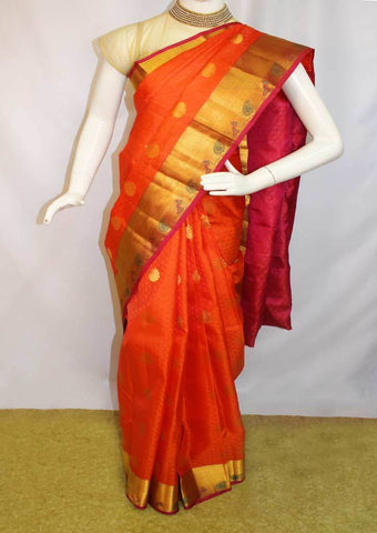 Dark Orange with Pink  Kanchipuram Silk Saree-FM89827 ARRS Silks