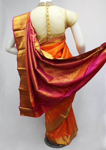 Dark Orange with Pink Kanchipuram Silk Saree-FQ22696 ARRS Silks