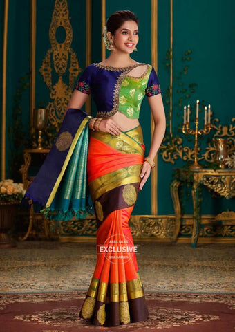 Dark Orange with Pink Shade Kanchipuram Silk Saree-9KA5641 ARRS Silks