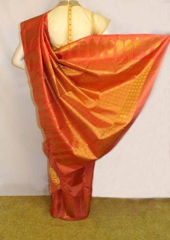 Dark Peach shade Kanchipuram Silk Saree - FM83137 ARRS Silks