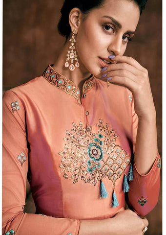 Dark Peach Silk Grand Chudi Material -FQ114261 ARRS Silks