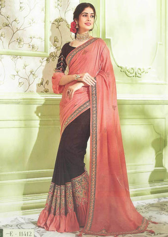 Dark Peach with Dark Brown Designer Saree - FS31714 ARRS Silks