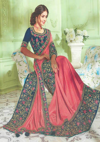 Dark Peach with Pink shade and Navy Blue Designer Saree - FS31717 ARRS Silks
