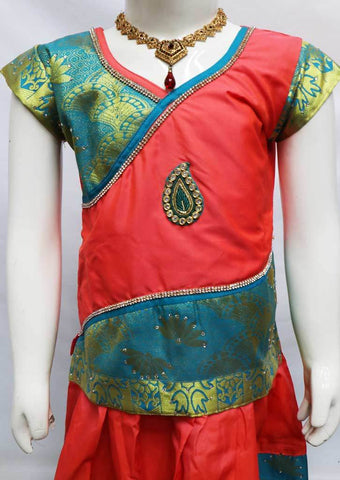 Dark Peach With Ramar Green Pattu Pavadai - FU3230 (Size: 6 Years) ARRS Silks