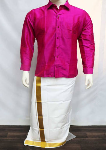 Dark Pink Full Hand Silk Cotton Shirt - FT1080 ARRS Silks