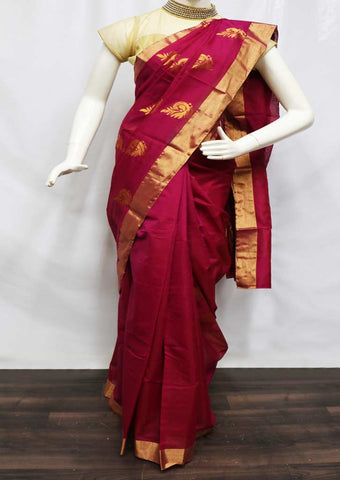 Dark Pink Silk Cotton Saree - HBP19836 ARRS Silks