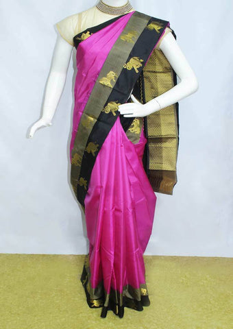 Dark Pink With Black  Kanchipuram Silk Saree-FD7741 ARRS Silks