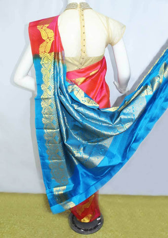Dark  Pink With Blue  Kanchipuram Silk Saree-FM92700 ARRS Silks