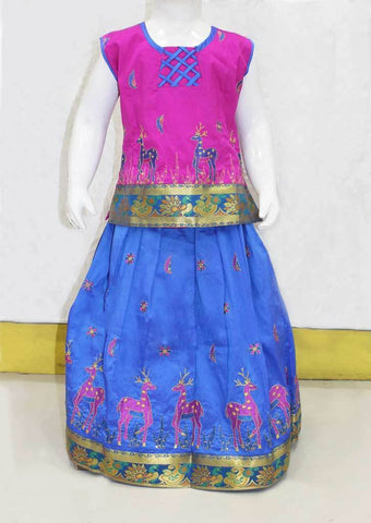 Dark Pink With Blue Pattu Pavadai - FO21228 ARRS Silks