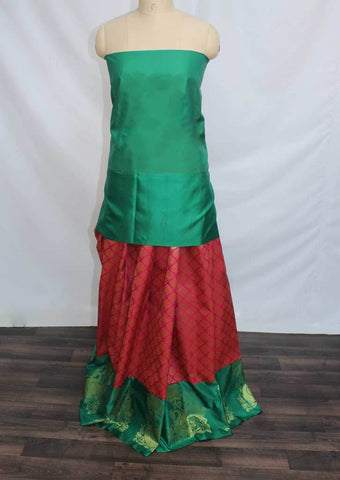 Dark Pink with Dark Green Coloured Pattu Pavadai Material - FP4373 (Size:  13Yrs to 18Yrs) ARRS Silks