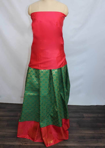 Dark Pink With Dark Green Coloured Pattu Pavadai Material - FP4376 (Size:  13Yrs to 18Yrs) ARRS Silks