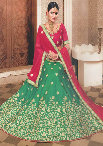 Dark pink with Dark green Lehenga - FS20666 ARRS Silks