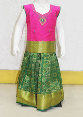 Dark Pink With Dark Green Pattu Pavadai - FO39281 ARRS Silks