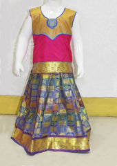 Dark Pink With Gold Blue Checked Pattu Pavadai - FO39294 ARRS Silks