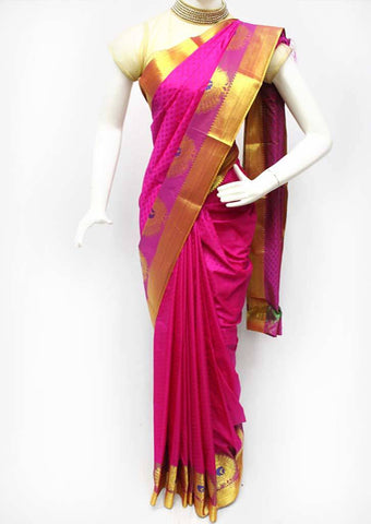 Dark Pink with Gold Semi Silk Saree- FR33535 ARRS Silks