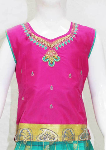 Dark Pink with Green Pattu Pavadai - FN5286 ARRS Silks