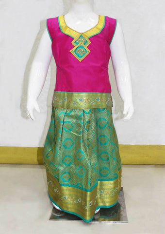 Dark Pink with Green Pattu Pavadai - FN5296 ARRS Silks