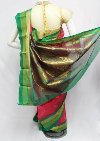 Dark Pink with Green Silk Cotton Saree - FP64760 ARRS Silks