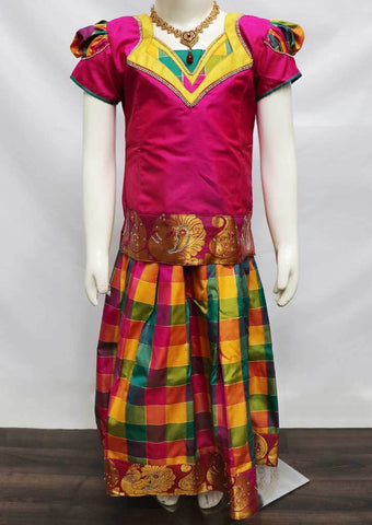 Dark Pink with Multi Color Pattu Pavadai - FU3353 (Size: 6 Years) ARRS Silks