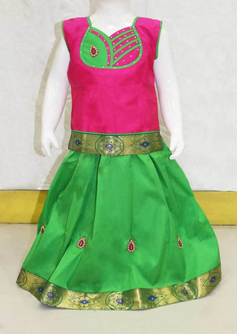 Dark Pink With Parrot Green Pattu Pavadai - FN7939 ARRS Silks