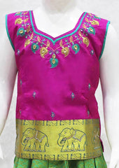 Dark Pink With Parrot Green Pattu Pavadai - FO39300 ARRS Silks