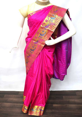 Dark Pink with Purple Semi Silk Saree - FD3707 ARRS Silks