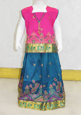 Dark Pink With Ramar Green Pattu Pavadai - FO21231 ARRS Silks