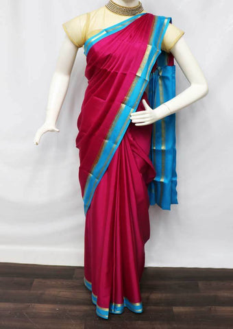 Dark Pink with Sky blue Mysore Silk Saree - FI10051 ARRS Silks