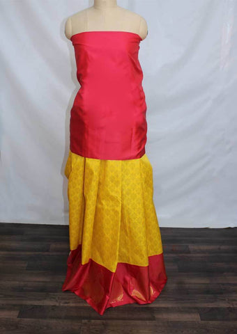 Dark Pink With Yellow Coloured Pattu Pavadai Material - FP4374 (Size:  13Yrs to 18Yrs) ARRS Silks