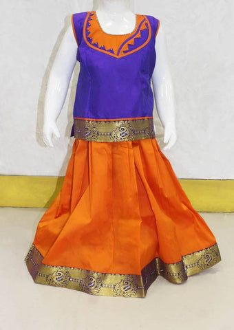 Dark Purple With Orange Pattu Pavadai - FK26231 ARRS Silks