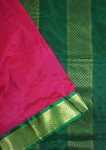 Dark Rose with Dark Green Coloured 9.5 Yards Silk Saree - FP53498 ARRS Silks