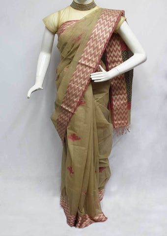 Dark Sandal Color Pure Cotton Saree - FQ110887 ARRS Silks