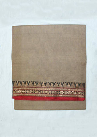 Dark Sandal Pure Cotton 9.5 yards Saree - F096391 ARRS Silks