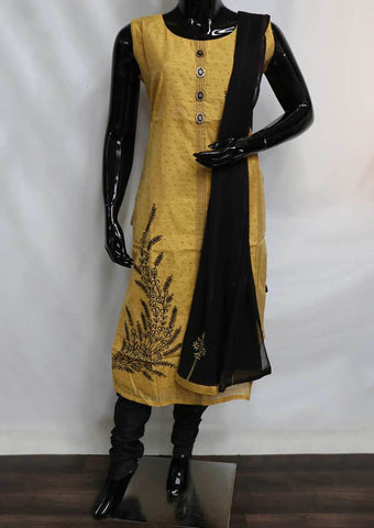 Dark Sandal With Black Straight Cut Readymade Salwar- FR88771 ARRS Silks