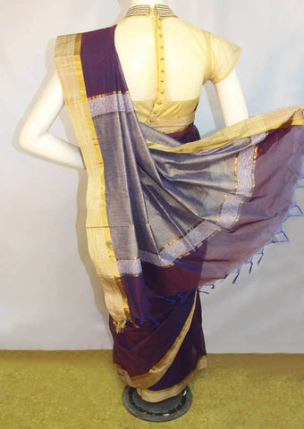Dark Violet Fancy Cotton Saree - FO77905 ARRS Silks