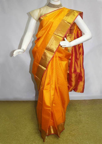 Dark Yellow Kanchipuram Silk Saree - FN80437 ARRS Silks