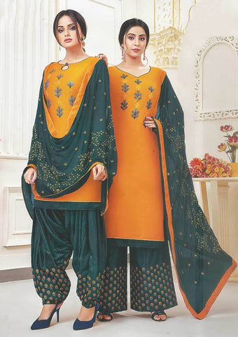 Dark Yellow Unstitched Chudi - FR87536 ARRS Silks