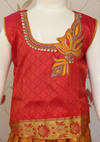 Red with Light Orange Art Silk Pavadai