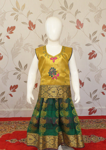 Yellow & Orange Multi Top Art Silk Pavadai