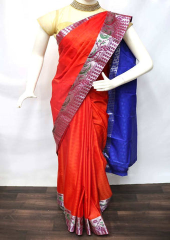 Fanta Orange with Blue Semi Silk Saree - FR33573 ARRS Silks