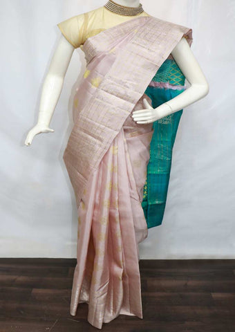 Formica Rose Bisque Color with Green Kanchipuram Silk Saree - GE65478 ARRS Silks