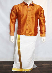 Gold Orange Full Hand Silk Cotton Shirt - FO77824 ARRS Silks