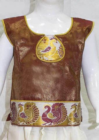 Golden Maroon Shade With White Pattu Pavadai - FK3024 ARRS Silks