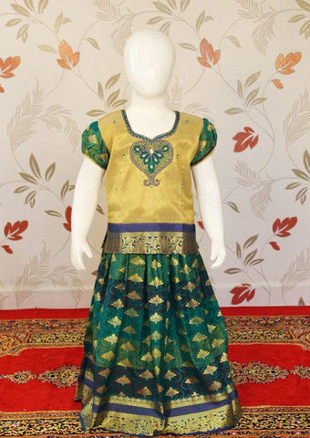Golden with Green Art Silk Pavadai ARRS Silks