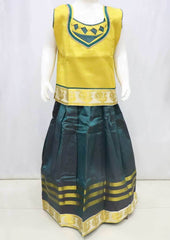 Golden with Green Pattu Pavadai - FR21757  (Size : 10 Years ) ARRS Silks