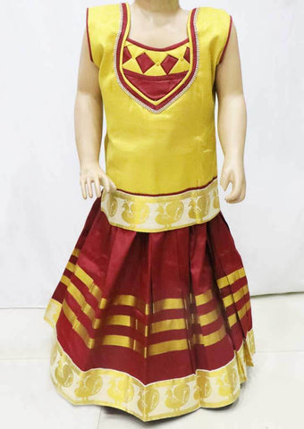 Golden with Maroon Pattu Pavadai - FR21745 (Size : 4 Years ) ARRS Silks