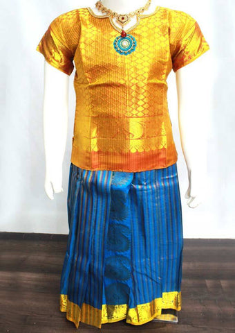 Golden with Orange Readymade Pure silk pavadai  - FE22361 (Age - 5 years) ARRS Silks