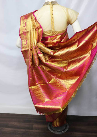 Golden with Pink Shade Wedding Silk Saree - 9KA2612 ARRS Silks